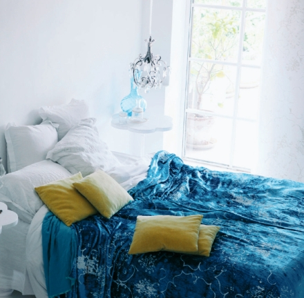 Bed-with-Blue-Cover