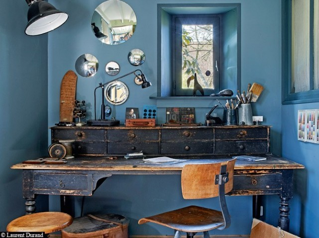 Blue Vintage Recycled Office