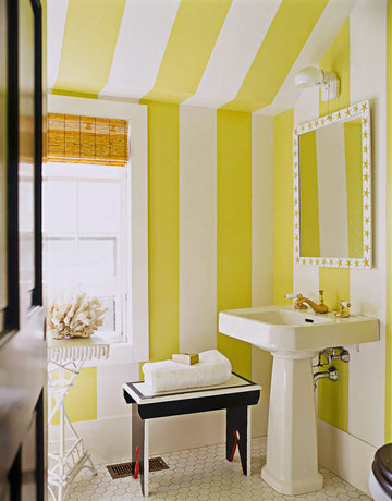 Yellow and Blue Stripe Bathroom - Interiors By Color