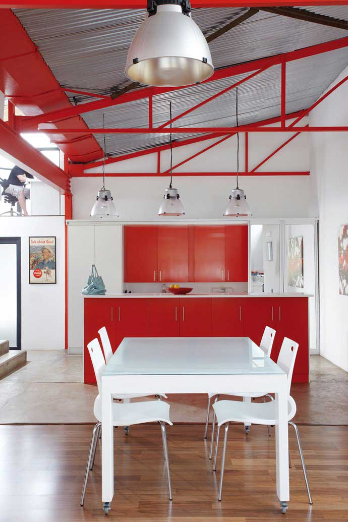 Johannesburg loft interiors by color for Kitchen colors with white cabinets with red umbrella canvas wall art