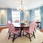 formal dining room in blue and red