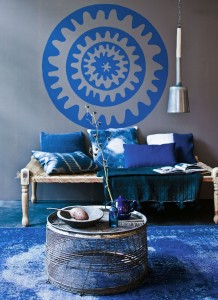 Blue Ethinc Ornament Wall