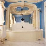 blue walls bathroom classic style