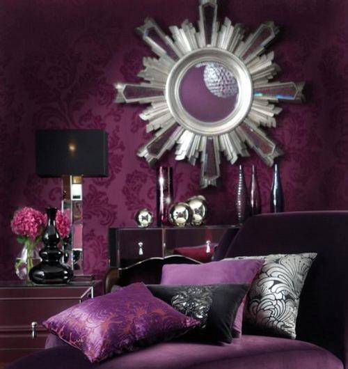 Combo Purple Silver Black Glam Living Room