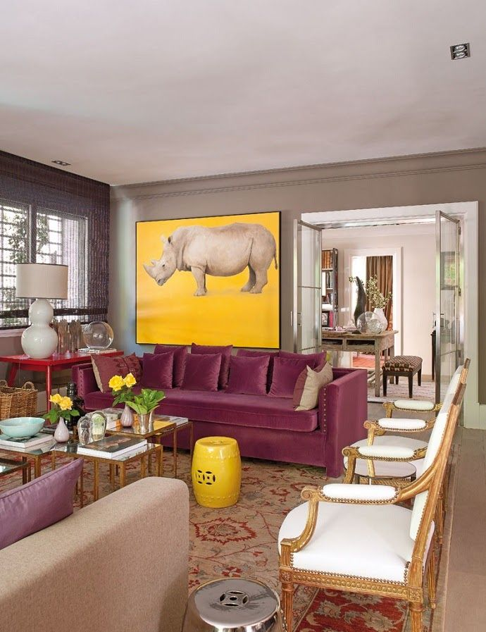 eclectic pink and yellow living room