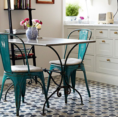 Teal French Bistro Seats