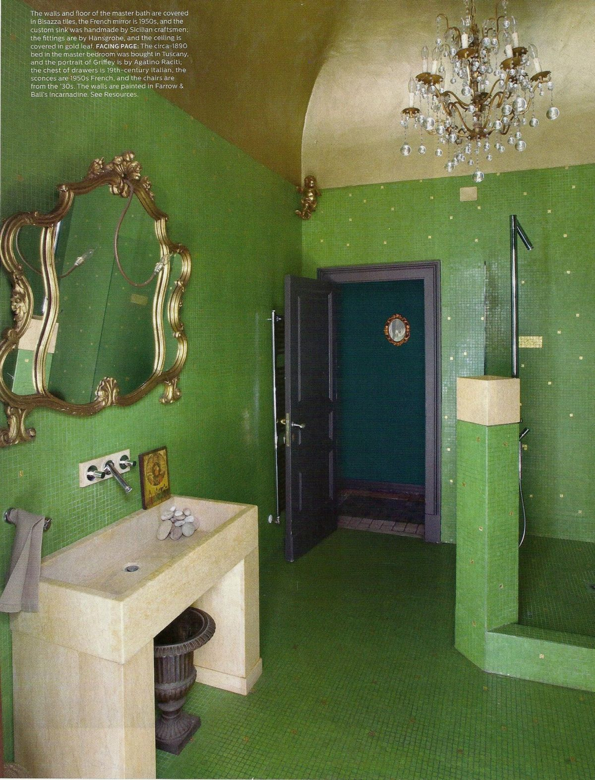 green and gold glam bathroom interiors by color