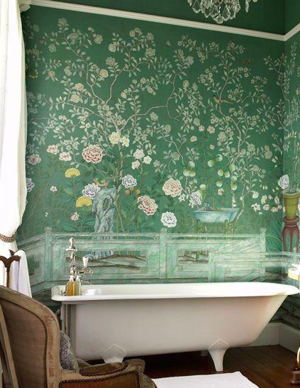 green chioiserie wallpaper bathroom