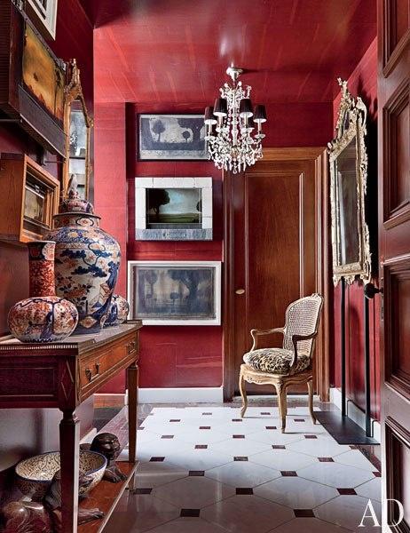 interior red glazed walls