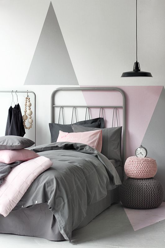 modern pink and grey bedroom interiors by color. Black Bedroom Furniture Sets. Home Design Ideas
