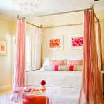 girls bedroom in pin and orange
