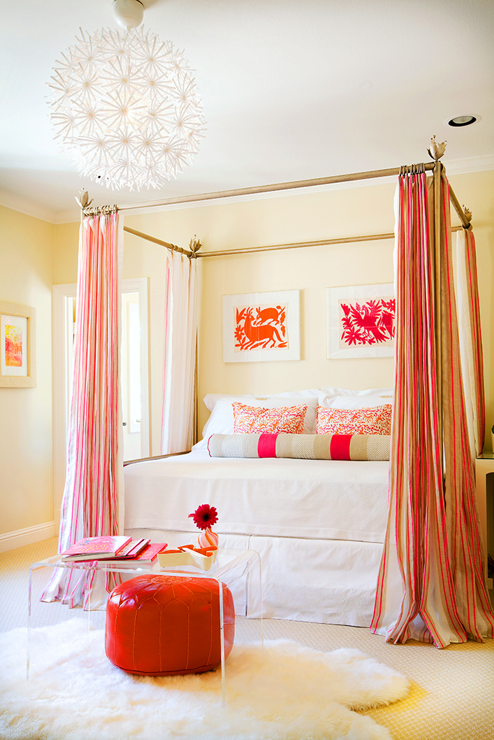 Pink, Orange and White in the Bedroom - Interiors By Color