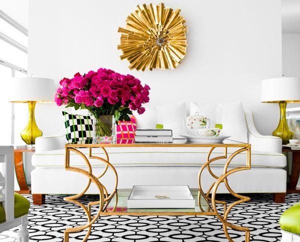 Glam Living In Pink And Yellow Interiors By Color
