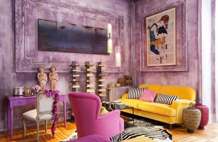 Yellow pink and mauve living room interiors by color for Mauve living room decor