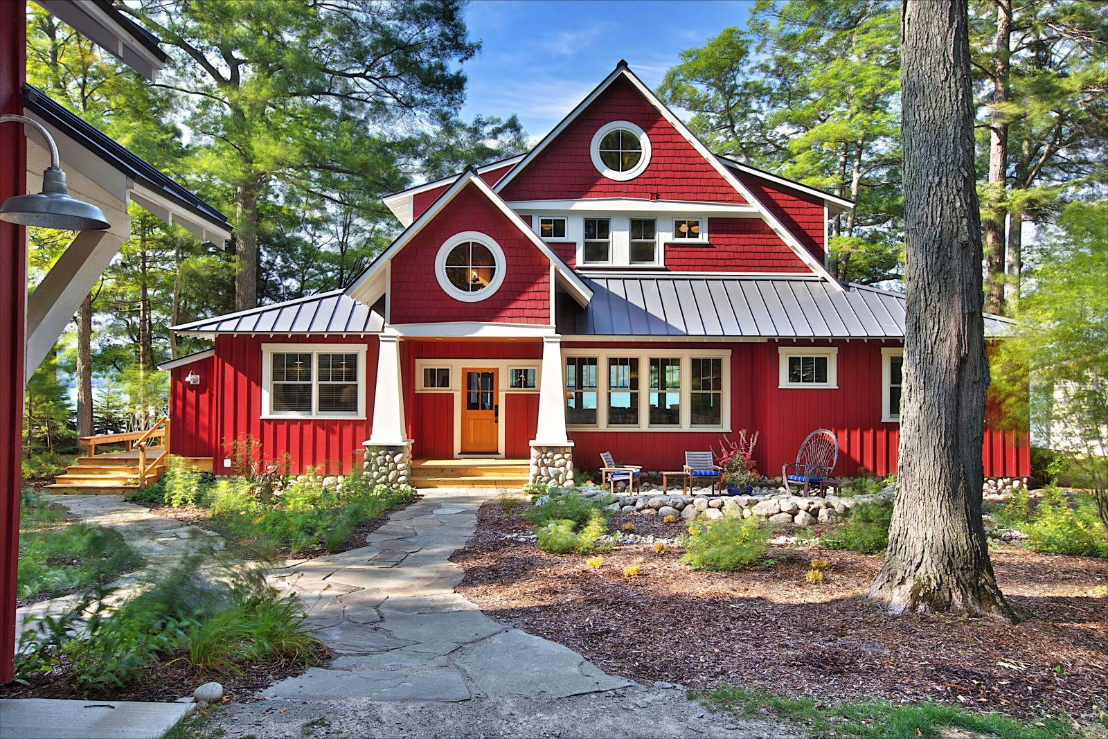A cottage painted red interiors by color Custom cottage homes