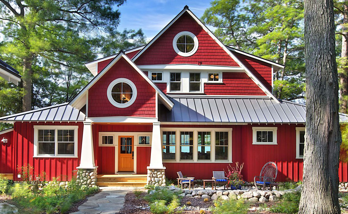 A Cottage Painted Red Interiors By Color