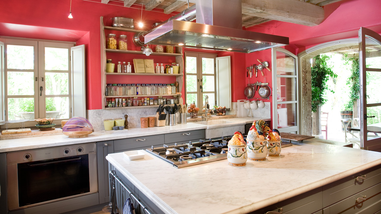 red farmhouse kitchen tuscany italy