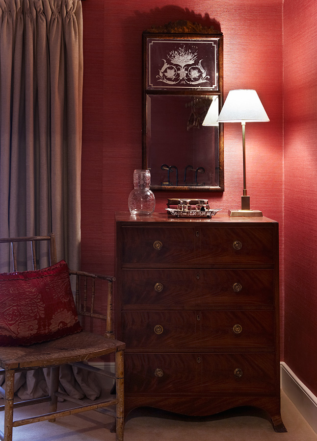 red wall bedroom tallboy