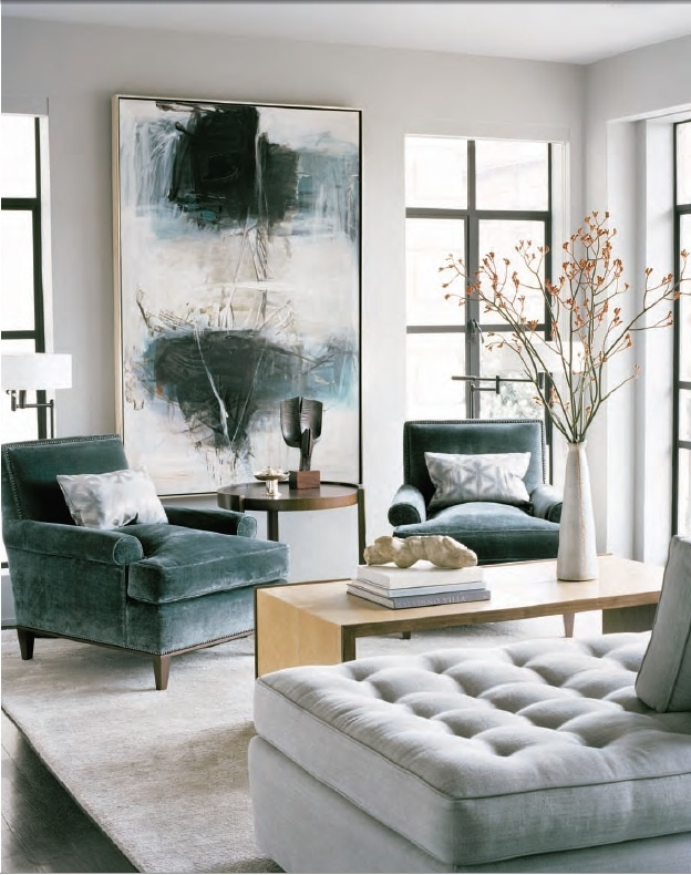 Grey velvet abstract interiors by color