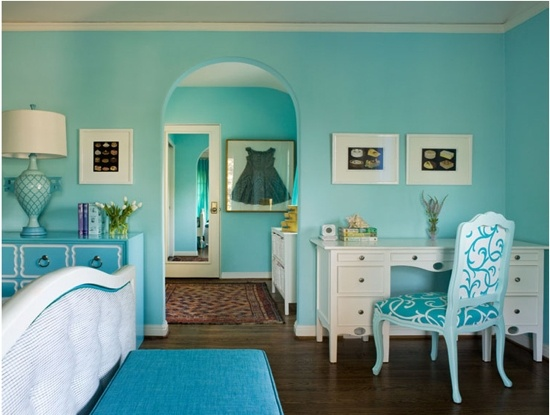 turquoise bedroom intense