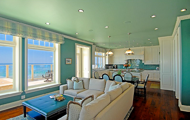 turquoise kitchen and living room
