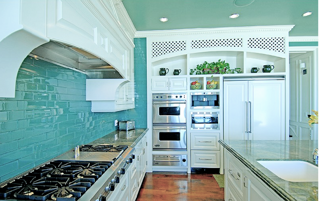 turquoise kitchen with white