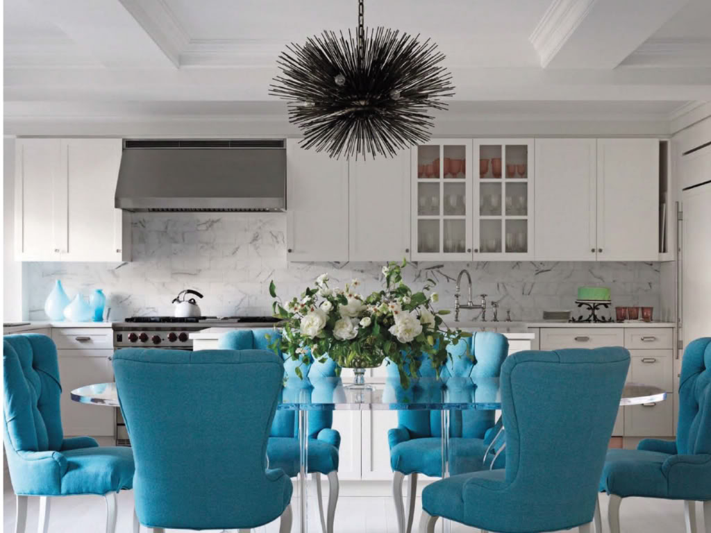 white and turquoise grand kitchen