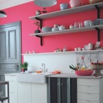 A Bright Pink and Grey Kitchen