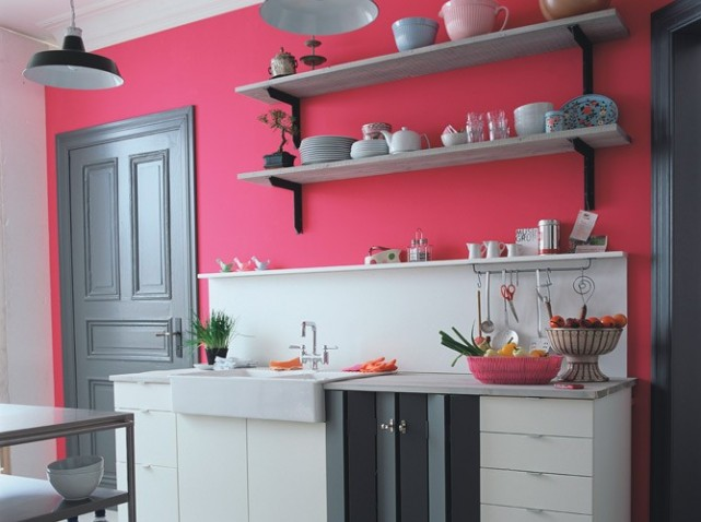 a bright pink and grey kitchen interiors by color. Black Bedroom Furniture Sets. Home Design Ideas