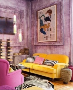 Yellow Pink And Mauve Living Room Southern Blue Stripes
