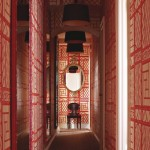 Hallway in Red Quadrille Wallpaper