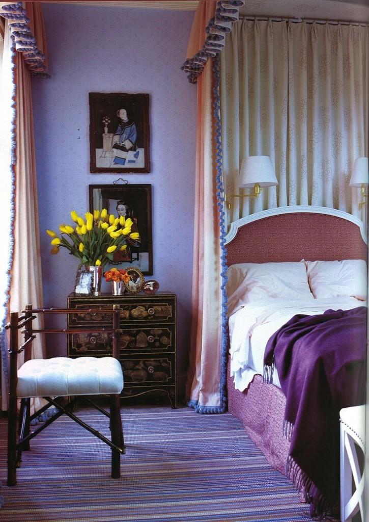 Jeffrey Bilhuber purple bedroom