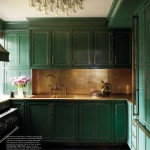 Brass Trimmed Green Kitchen