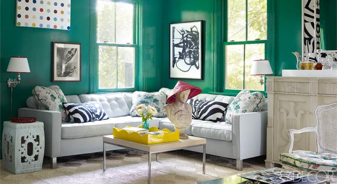 Redd-green and white lam living