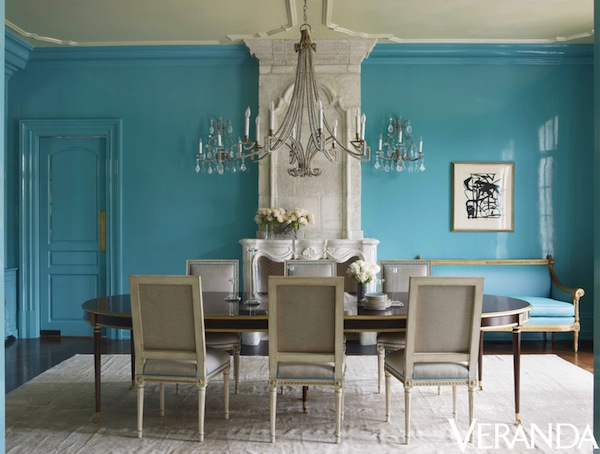 Neutrals and bright turquoise interiors by color - Veranda dining rooms ...
