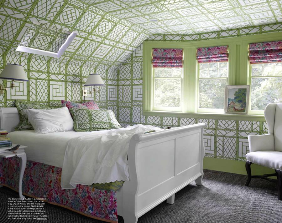 Bedroom in Green Quadrille