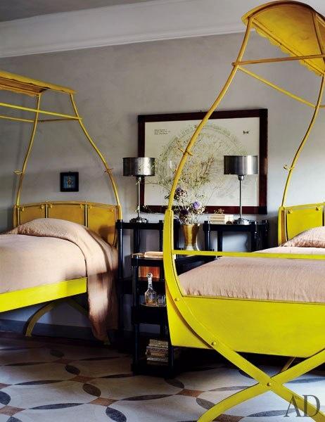 bed scissor yellow antique bedroom