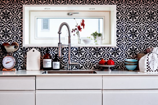 black white tiled kitchen wall