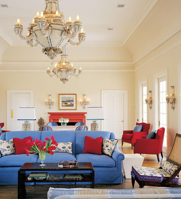 blue and red living interior