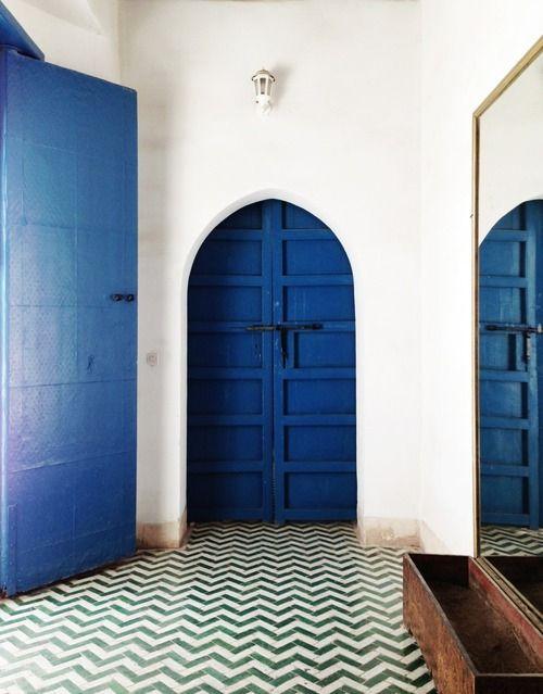 blue door and chevron floor