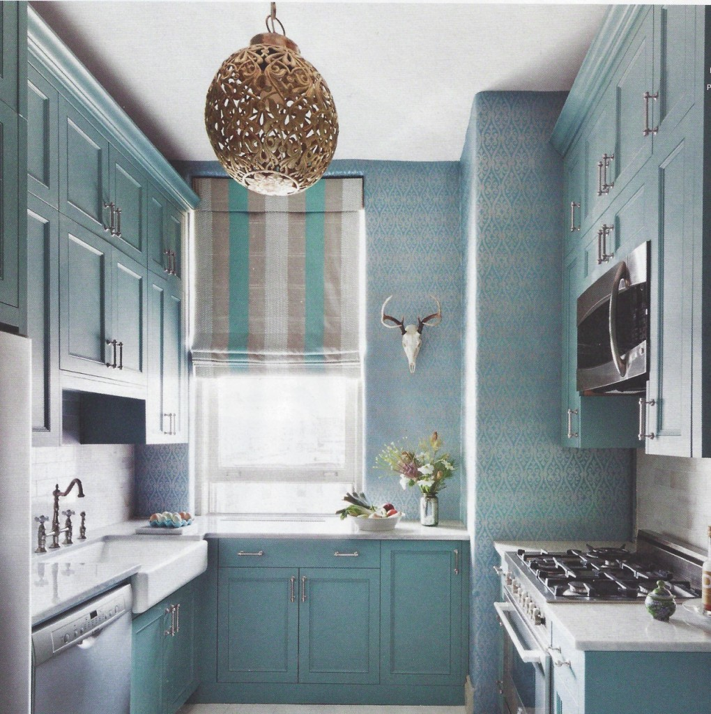 blue kitchen with wallpaper