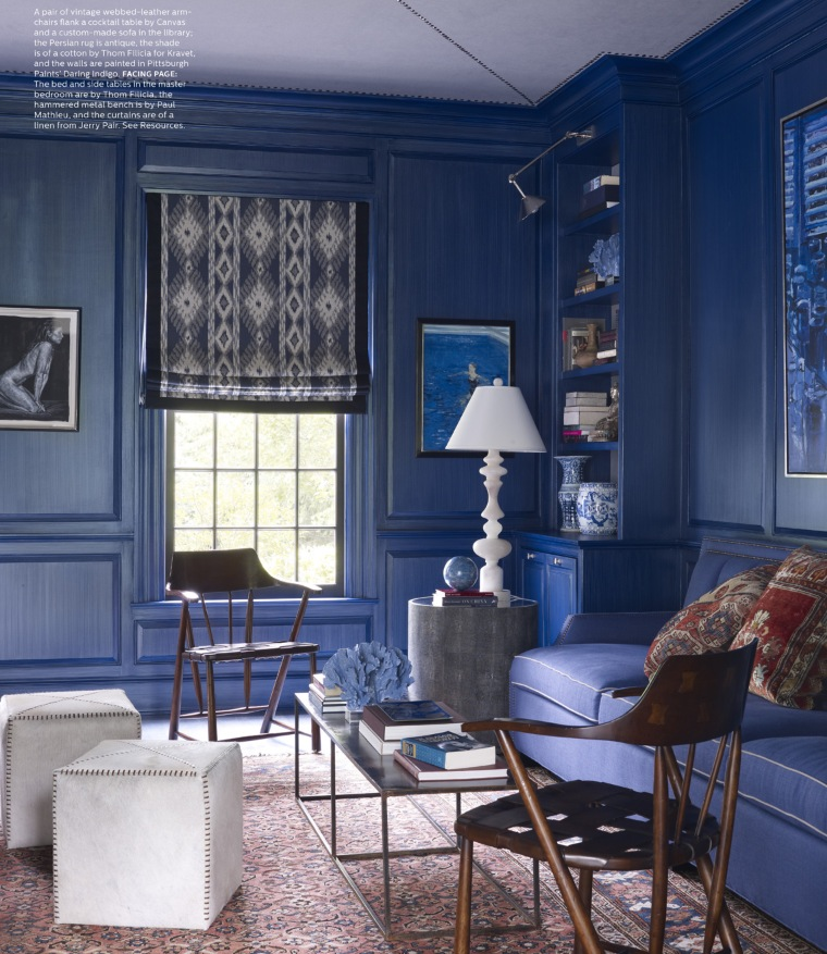Blue Living Room Elle Decor June 2013 Interiors By Color