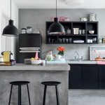 Concrete and Black Kitchen