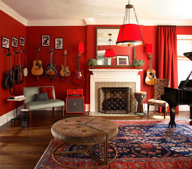 Cool red living room