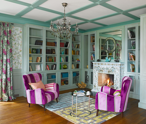 Seafoam And Fuchsia Library Interiors By Color