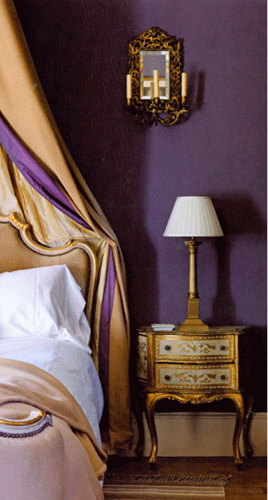 frecnh bedroom in purple and gold interiors by color 15431 | frecnh bedroom purple and gold