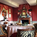 Eclectic French Dining in Red and Zebra Stripe