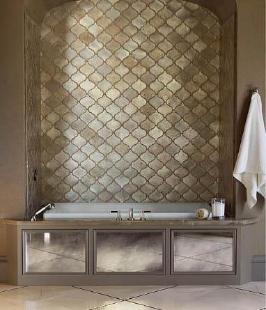 gold leaf arabesue bathroom tiles