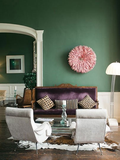 Green Purple And Grey Living Room