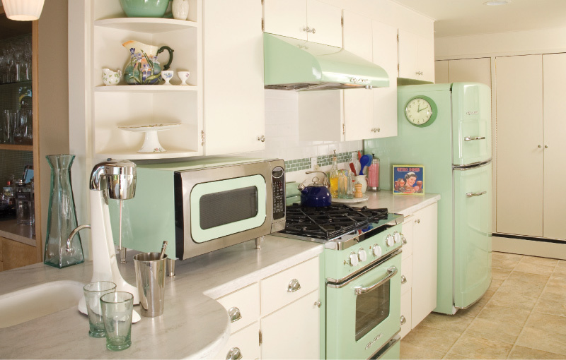 Retro Mint Kitchen Interiors By Color